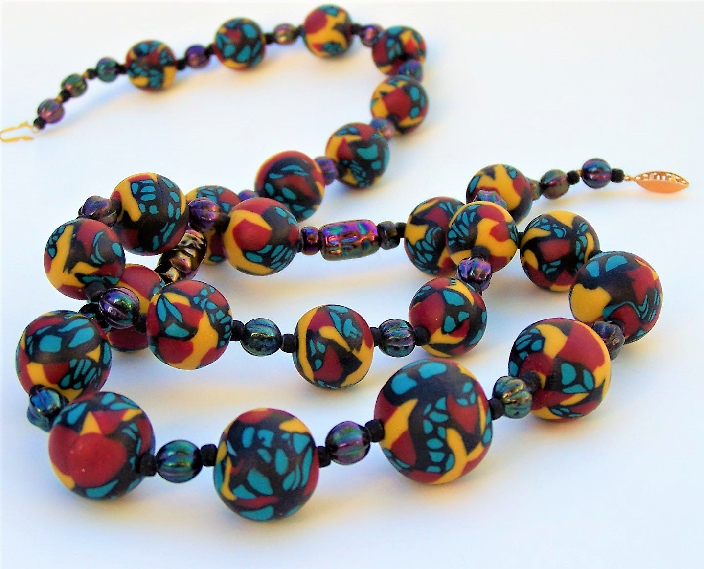 vintage multi colored bead necklace by hechodecorazon on etsy
