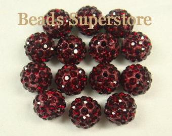 SALE CLOSEOUT 10 mm Siam Pave Crystal Round Bead - Grade AAA - 10 pcs