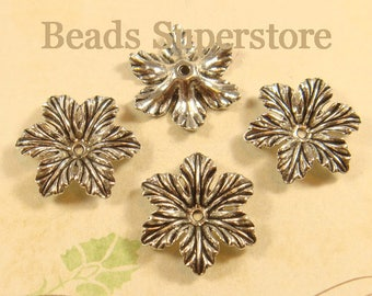 SALE 21 mm x 4 mm Antique Silver Flower Bead Cap - Nickel Free, Lead Free and Cadmium Free - 10 pcs