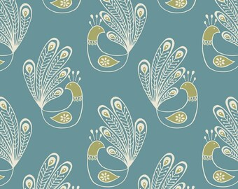 Lewis & Irene 'DISCOUNTED Price' Home Sweet Home A99-1 Peacock on Blue Patchwork Quilting Fabric