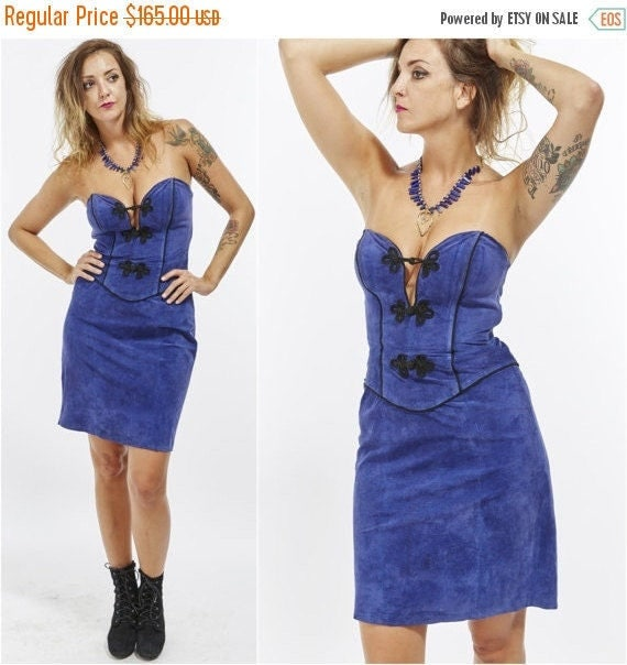 Vtg 80s 90s Grunge BLUE SUEDE Leather Wiggle Bodycon BUSTIER Micro Mini Party Dress Rocker Retro Sexy Corset Top Biker Babe Strapless xs/s