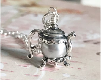 Tea Pot Necklace - Your Choice of Pearl Color Teapot Sterling Silver Necklace - Custom Necklace Custom Length - Pearl Jewelry