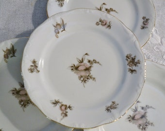 Vintage Haviland Sepia Rose Bread Plate Set of 4 Wedding China Replacement PanchosPorch