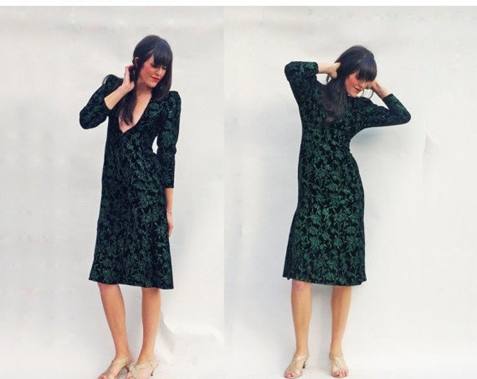 Black Velvet Dress, Vintage 80s Long Sleeved Low Cut Black Velvet Dress With Green Floral Print + Matching Jacket, Evening Gown, Prom Dress
