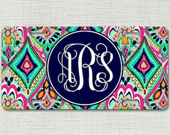 Monogrammed Car Tag - Floral Jewels - Personalized Front License Plate 9016