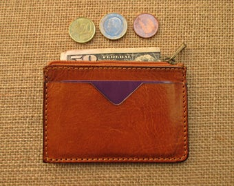 Leather credit card holder and coin purse, minimalist wallet, thin wallet, slim wallet, handmade zippered pouch
