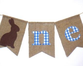 Peter Rabbit Birthday Banner Highchair High Chair Birthday Bunny Blue Gingham Easter Picnic ONE First Little Man Garland Cake Smash Prop