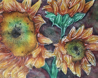 Sunflowers Watercolor Fine Art Print- available in 8x12, 12x18, 16x24, and 20x30 inches