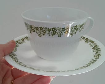 Teacup and Saucer, Vintage Corelle Livingware. Corning.  Green Daisies.  Spring Blossom Pattern. USA.