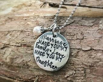 Hand Stamped pewter Daughter necklace - stepdaughter - Daugther in law - mother in law - wedding - love
