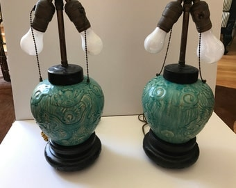 Incredible vintage chinese glazed lamps - all original - butterfly finials
