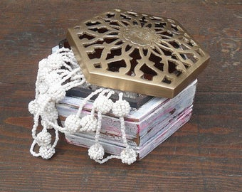 Vintage Jewelry Box Trinket Box Keepsake Box Distressed Shabby White Hexagonal Rustic Gift For Her Hand Painted Filigree Metal Lid