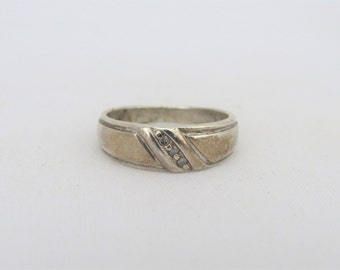 Vintage Sterling Silver Diamond Band Ring Size 9