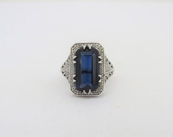 Vintage Sterling Silver Blue Sapphire Filigree Ring Size 6