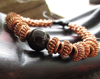 Bright Copper with Garnet Mala-Style Knotted Leather Yoga Bracelet