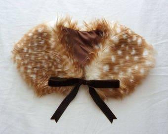 Fluffy Caramel Fawn/Deer Ribbon Fur Collar