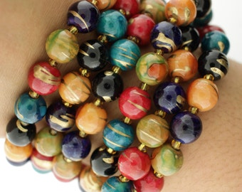 Vintage Swirl Gold Colorful Long Bead Necklace