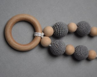 teething ring, Breastfeeding Necklace, Crochet Nursing Necklace, Teething necklace with crochet beads, baby shower gift, grey baby necklace