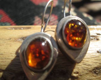 Amber and Sterling Dangle Earrings