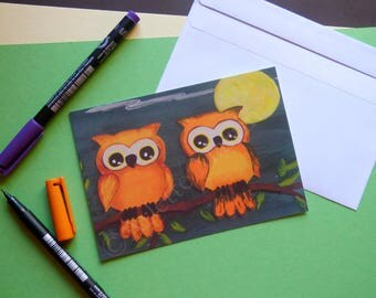 Postcard Owls Postcard print Owls art Reproduction print