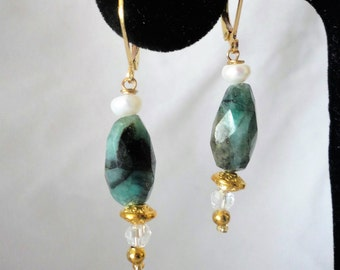 A Stunning Faceted Long Oval Emerald Pearl Earrings***.