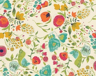 Art Gallery Fabric budquette abloom easter fabric floral print fabric teal and poppy floral fabric