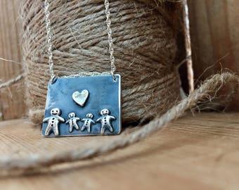 Handmade Sterling Silver 'My Family'   Pendant