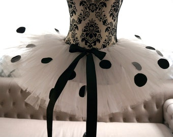 Adult Tutu - Dalmation Tutu - Polka Dot Tutu - Black and White Tutu