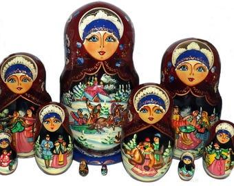 Winter. Country Side. Set of Ten Russian Nesting Dolls.