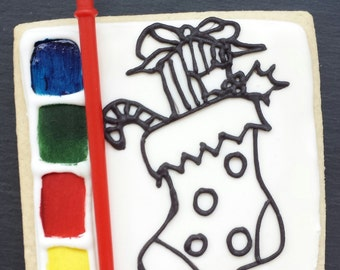 Paint your Own Christmas Cookie / Biscuit - Stocking