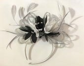 Silver Grey and Black White Fascinator on Headband Alice Band UK Wedding Ascot Races Derby