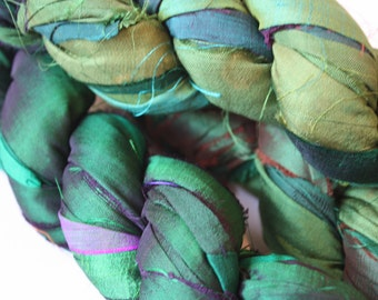 25% off SALE***Recycled Sari Silk Ribbon - Bottle Green shot with Purple
