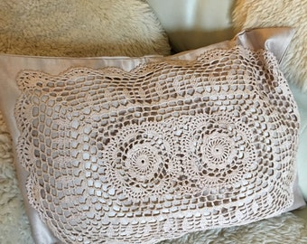 Ecru crochet pillowcase decor cushion hand embroidered vintage crochet lace over a beige gold  pillow cover oblong