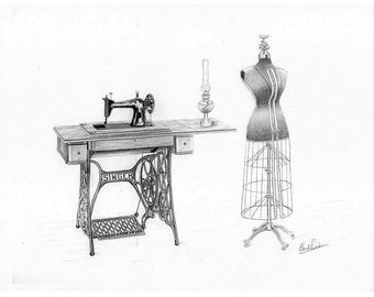 Pencil drawing of old Singer machine and seamstress mannequin