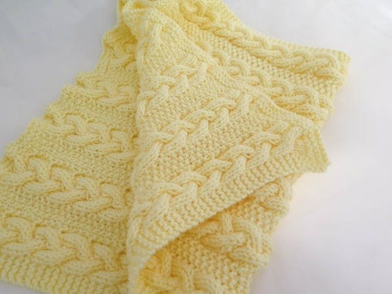 KNITTING PATTERN, Reversible Cable Baby Blanket, Cable Baby Blanket, Chunky C...