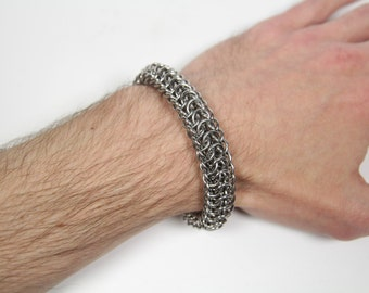 Persian Dragonscale Bracelet, Chainmaille Bracelet, Stainless Steel, Chainmail Bracelet, Chain Maille, Chain Mail, Mens Bracelet