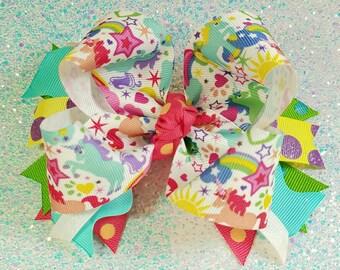 Unicorn and Rainbow Boutique Bow - Mix and Match OTT Big Hairbow - Heart Star Cloud Pink Green Aqua Yellow Purple Blue Coral Polka Dot Magic