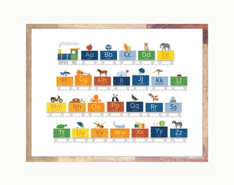 Alphabet Train / ABC Train  / Alphabet Art / Kids Room Art / Choo Choo Train