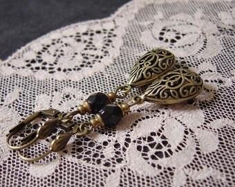 """Earrings """"drops in vintage-look"""" black bronze"""