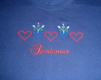 Norwegian Bestemor Hearts on Ladies Navy T Shirt #LT818NAV