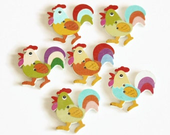 10 Chicken Shaped Buttons - Painted Wood Buttons - 32mm - Animal Buttons - Easter Buttons - Chick Buttons - Novelty Buttons - PW353