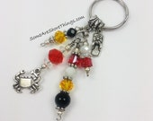 Maryland Theme Keychain. Crab and Flip Flop Charm Keyring with Maryland State Flag Colored Glass Faceted Beads.