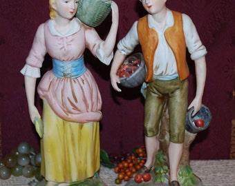 "Homco Japan Marked 12"" Bisque/Porcelain Boy & Girl Garden #1415 Figurines"