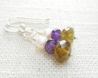 Green Garnet, Purple Amethyst and White Freshwater Pearl Earrings, Sterling Silver Gemstone Jewelry, Multicolor Stone Bead Dangle Earrings