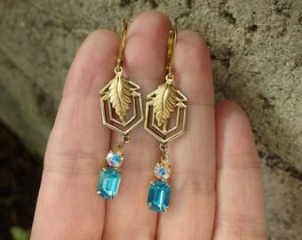 Aqua Blue ~ Art Deco Style~  Dangle Earrings ~ Vintage Glass ~ Vintage Glass ~ by LadyofTheLakeJewels