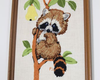 Cute Vintage Framed Raccoon Crewel Picture, Needlework Embroidery, Trash Panda 1970s