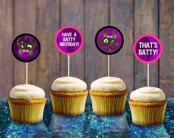 Bat Girl Toppers INSTANT DOWNLOAD Printable Bat Cupcake Muffin Toppers Digital File Batty Party Supplies Birthday