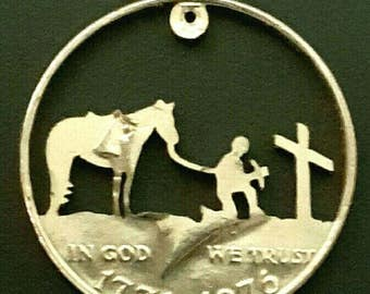 Cowboy and horse at a grave coin jewelry pendant