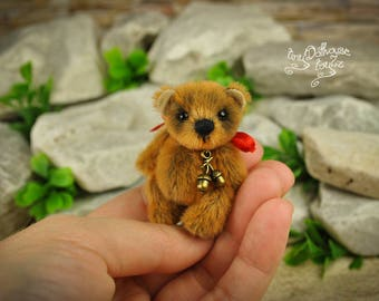 Miniature bear artist Teddy Bear OOAK 5 cm toyZZ exclusive gift gift tiny Dollhouse kawaii bear good luck talisman