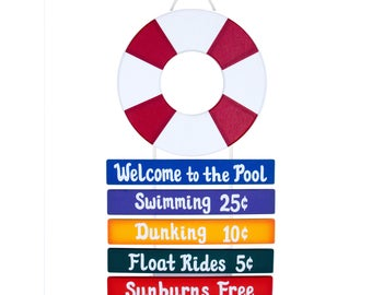PERSONALIZED Outdoor Pool Sign - Welcome to the Pool Rope Sign - Life Ring